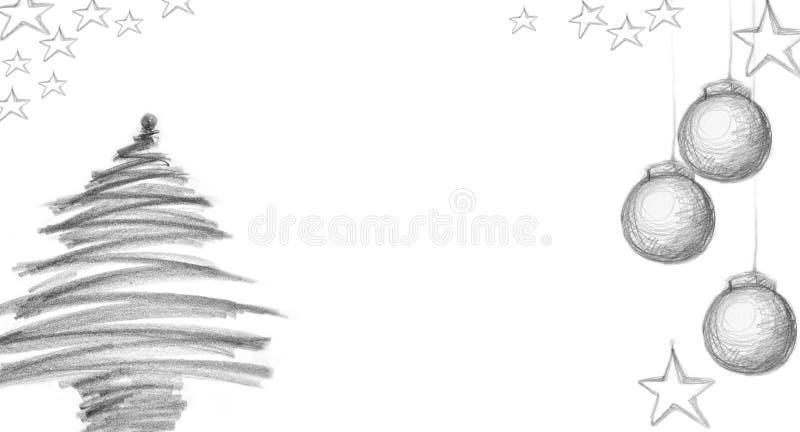 Arbre de Noël et cartes de Noël avec le charbon de bois illustration stock