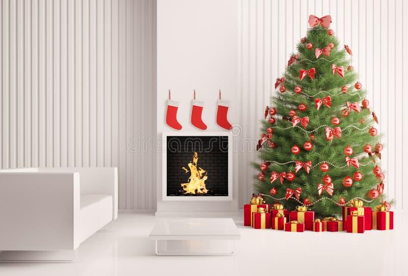 Arbre de Noël et cheminée 3d illustration libre de droits