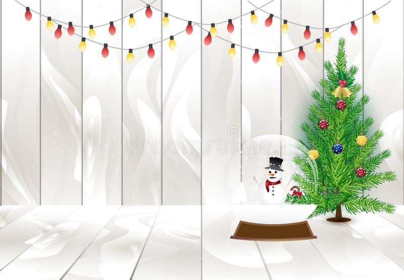 Arbre de Noël et décoration de lumière sur les planches en bois, vacances ch illustration de vecteur