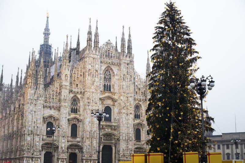 Arbre de Noël et Duomo de place de Milan l'Italie photo libre de droits