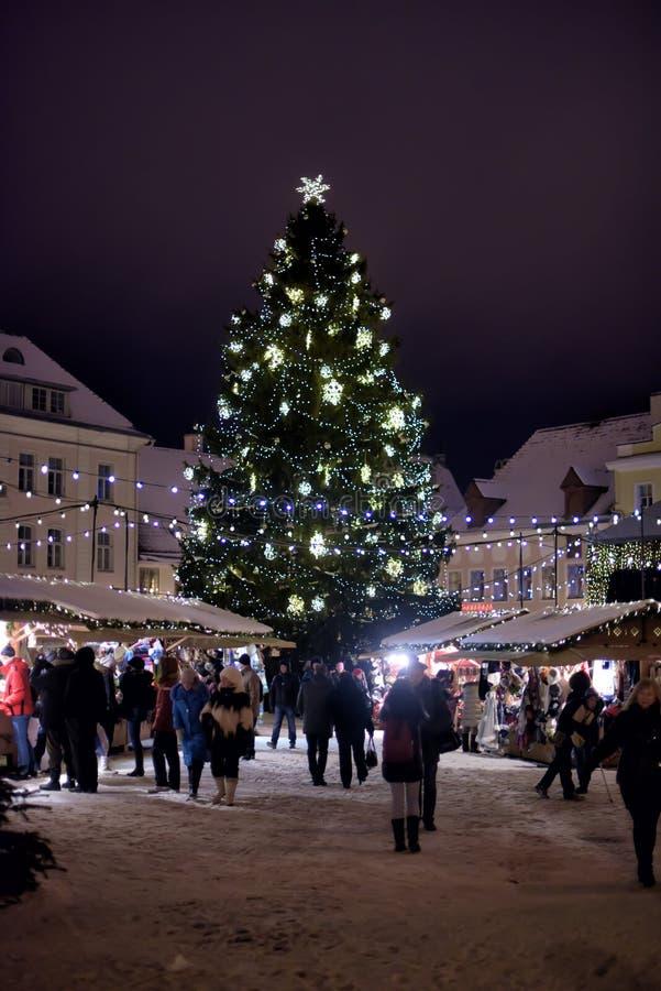 Arbre de Noël et foire de Noël sur la place centrale de Tallinn images libres de droits