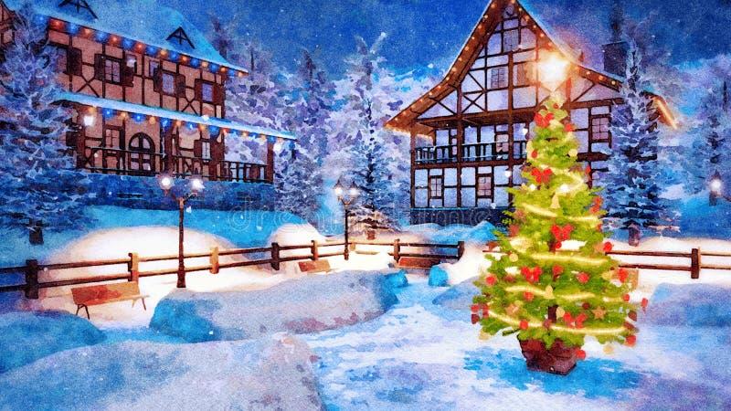 Arbre de Noël extérieur à l'aquarelle de nuit d'hiver illustration stock
