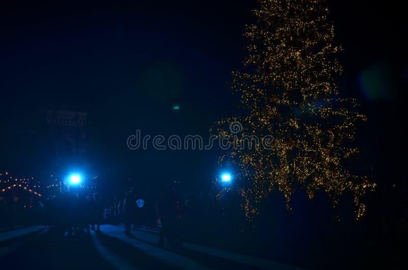 Arbre de Noël de fête pendant la nuit photo libre de droits