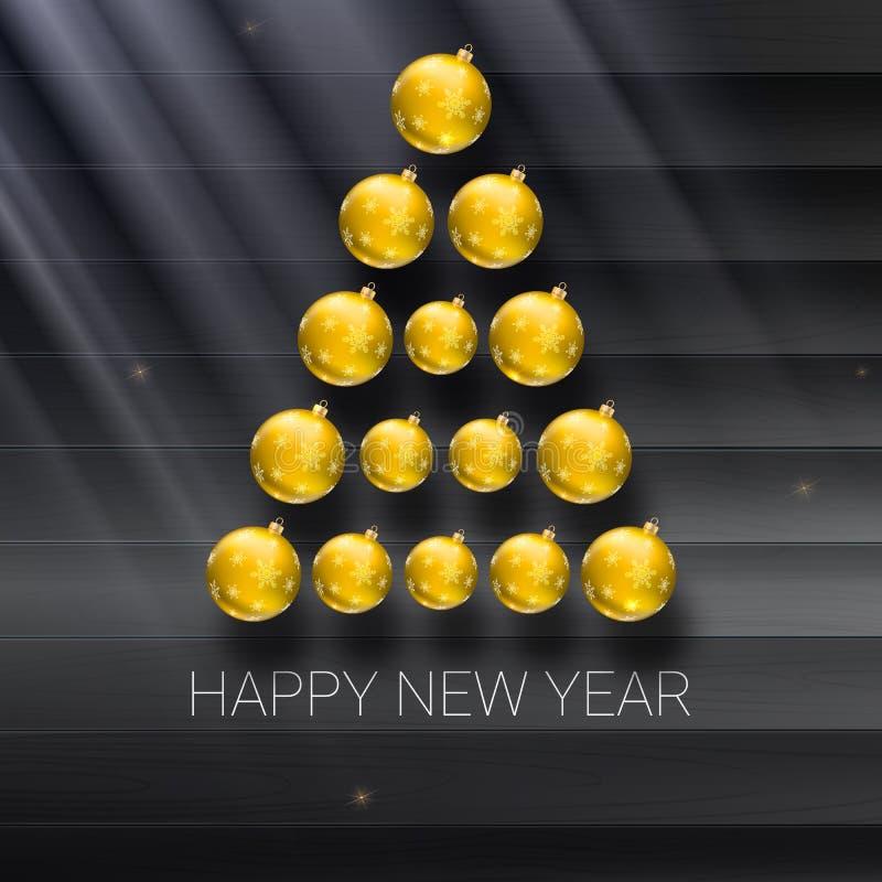 Arbre de Noël fait à partir des boules jaunes Calibre d'illustration de vecteur pour votre carte de voeux illustration libre de droits
