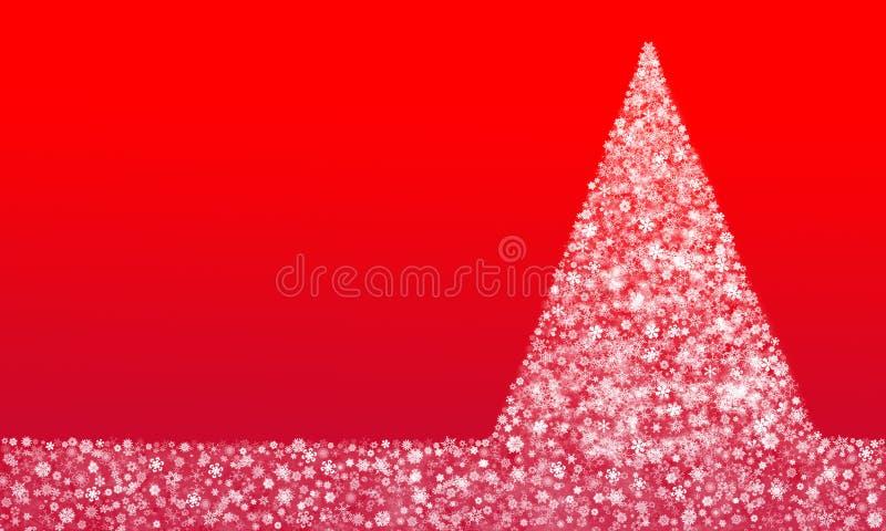 Arbre de Noël fait à partir des flocons de neige sur le fond rouge illustration de vecteur