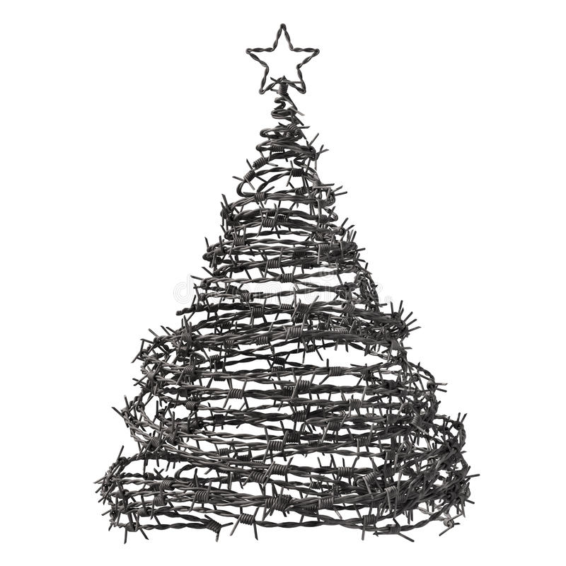 Arbre de Noël fait à partir du barbelé illustration stock