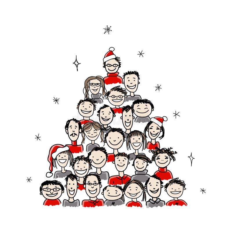Arbre de Noël fait à partir du groupe de personnes pour le votre illustration de vecteur