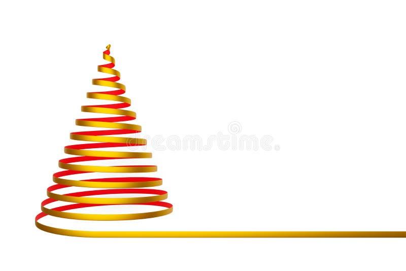 Arbre de Noël fait à partir du ruban d'isolement sur le fond blanc - illustration 3D illustration libre de droits