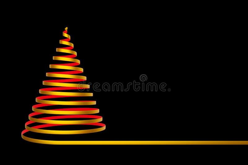 Arbre de Noël fait à partir du ruban d'isolement sur le fond noir - illustration 3D illustration libre de droits