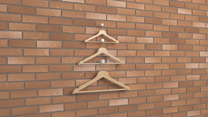 Arbre de Noël fait de cintres en bois illustration stock