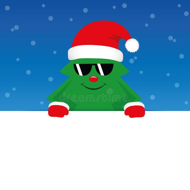 Arbre de Noël mignon heureux avec des lunettes de soleil sur le fond neigeux bleu illustration stock