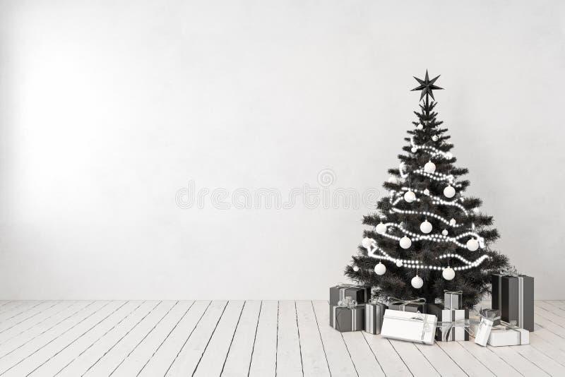 Arbre de Noël noir dans la chambre, mur blanc vide, cadeaux illustration libre de droits