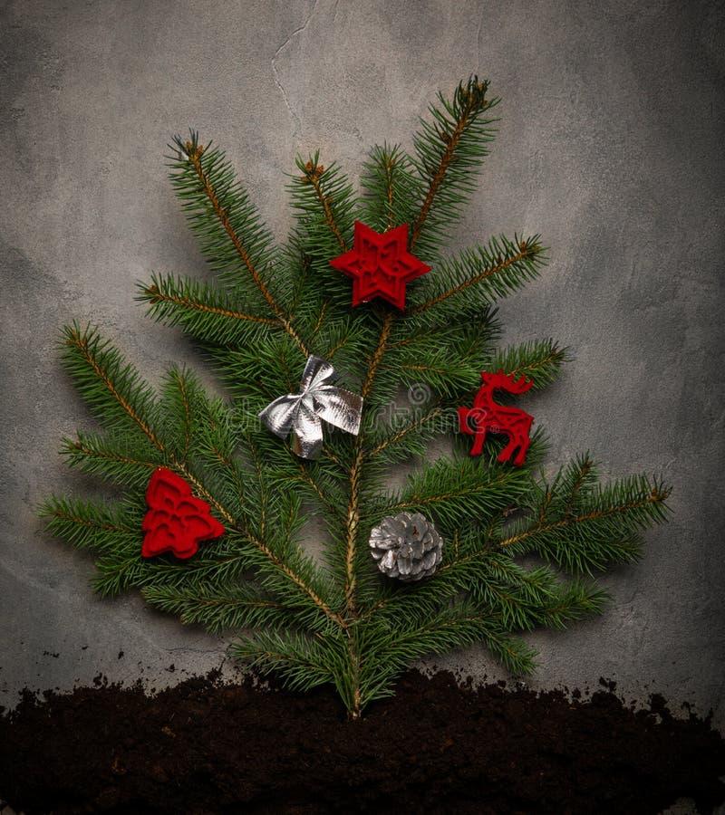Arbre de Noël orné Contexte de Noël image stock