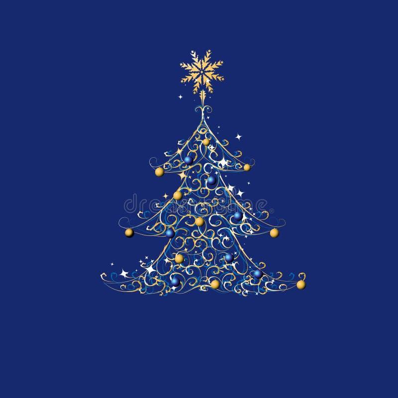 Arbre de Noël, ornement d'or illustration de vecteur