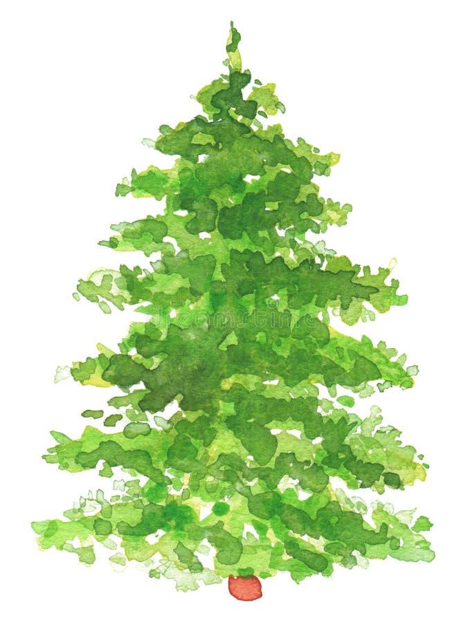 Arbre de Noël peint à la main d'aquarelle illustration libre de droits
