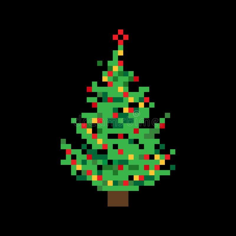 Arbre de Noël plat coloré mignon d'art de pixel de vecteur avec du Li féerique illustration libre de droits