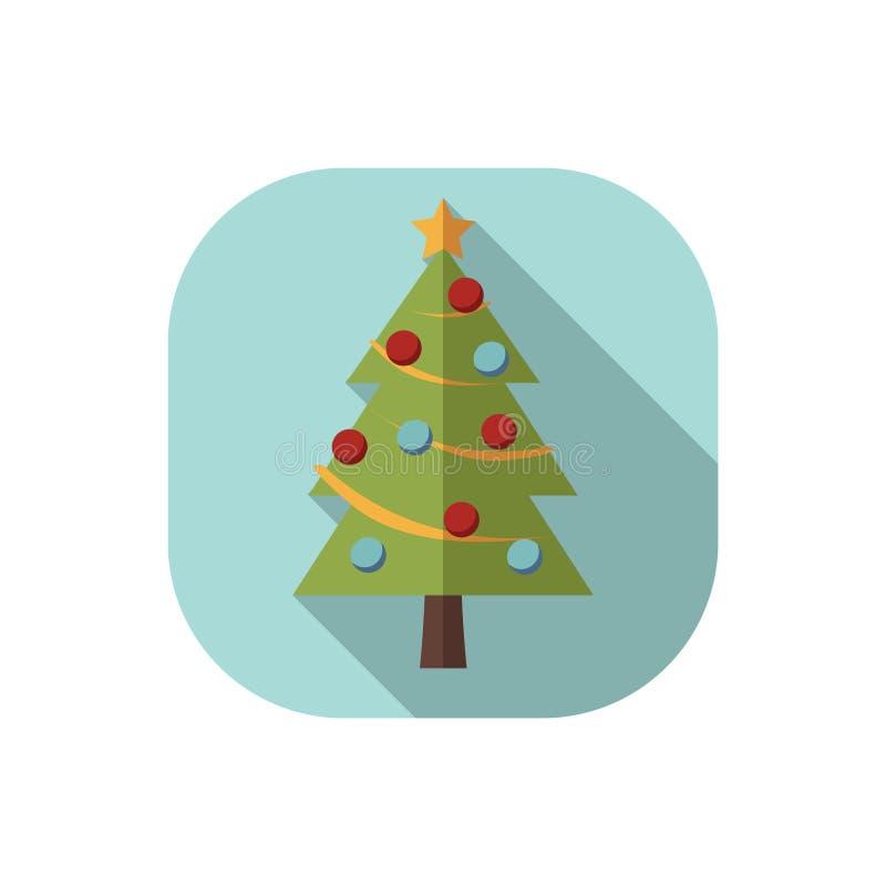 Arbre de Noël plat de conception avec les décorations bleues et rouges illustration de vecteur