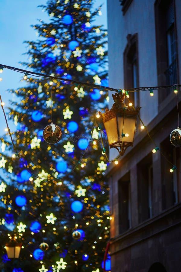 Arbre de Noël principal de Strasbourg, France avec les guirlandes légères photographie stock libre de droits