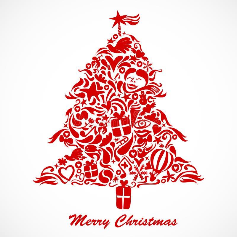 Arbre de Noël rouge illustration stock