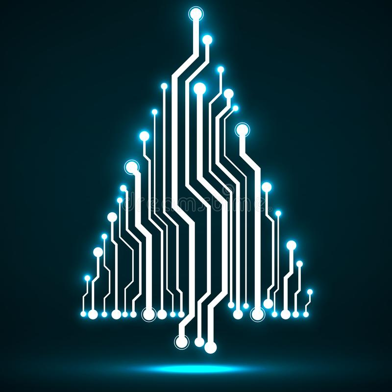 Arbre de Noël rougeoyant de technologie abstraite illustration de vecteur