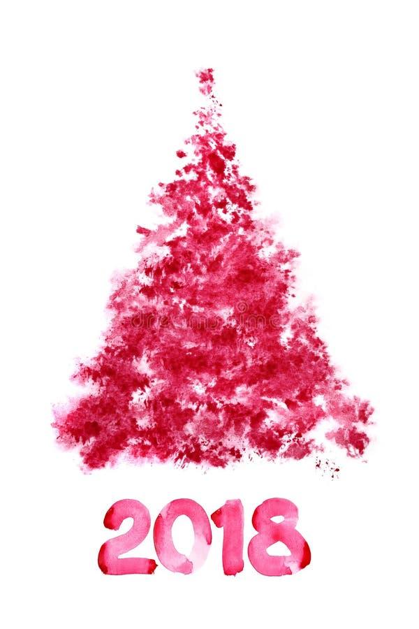 Arbre de Noël scetched par rouge illustration de vecteur