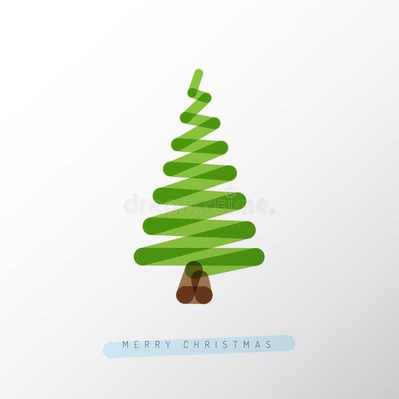 Arbre de Noël simple de vecteur fait à partir d'une ligne illustration de vecteur