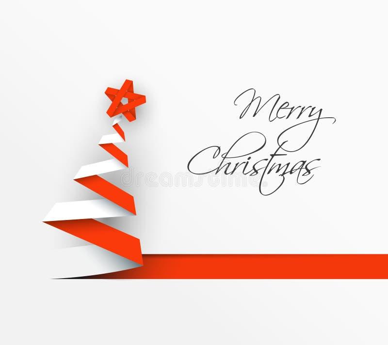 Arbre de Noël simple de vecteur fait à partir de la rayure de papier illustration libre de droits