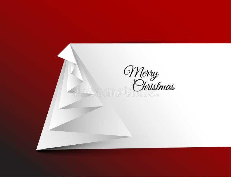Arbre de Noël simple de vecteur fait à partir du papier illustration stock