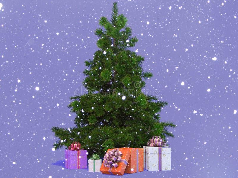 Arbre de Noël Snow-covered photographie stock