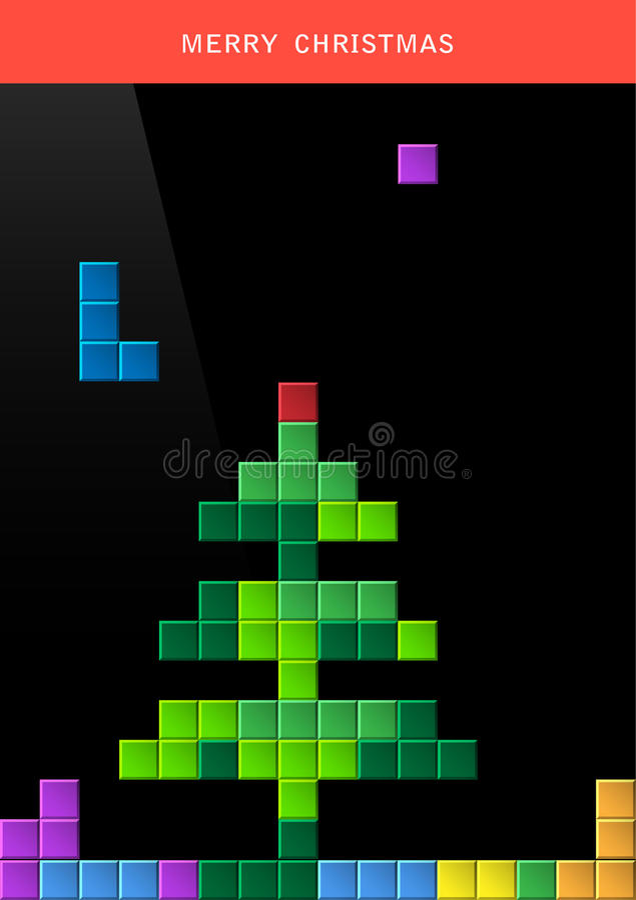 Arbre de Noël sur l'écran d'ordinateur de jeu illustration de vecteur