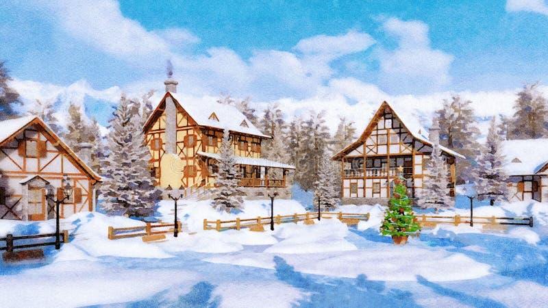 Arbre de Noël sur l'aquarelle carrée de village alpin illustration libre de droits