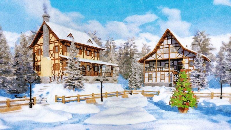 Arbre de Noël sur l'aquarelle de place couverte par neige images libres de droits