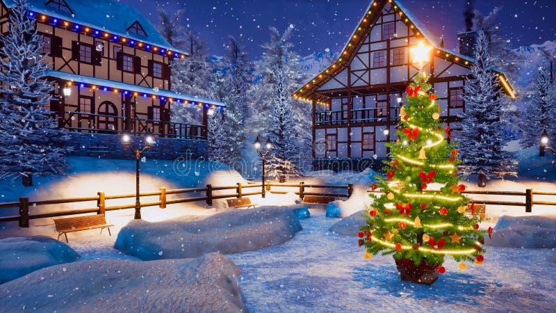 Arbre de Noël sur la place de banlieue noire la nuit hiver photos libres de droits