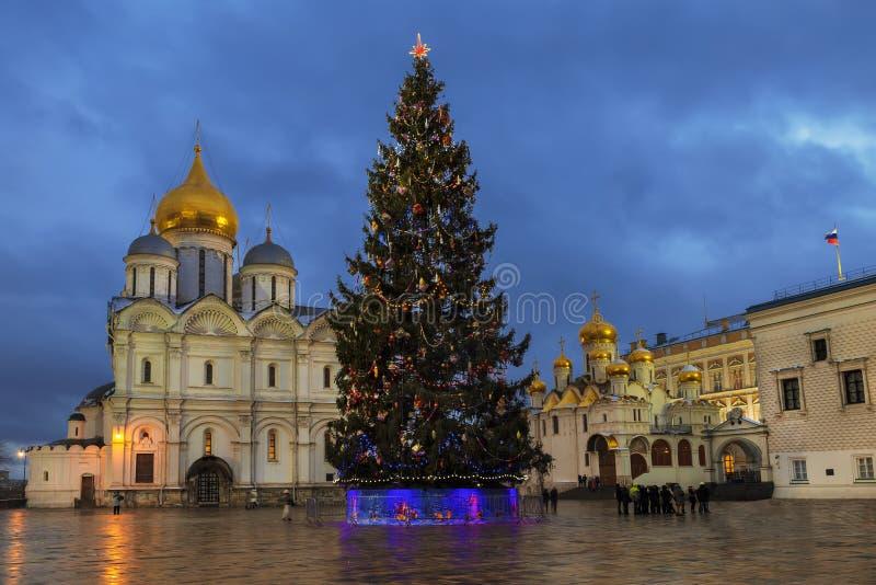 Arbre de Noël sur la place de cathédrale de Moscou Kremlin le soir d'hiver Moscou, image stock