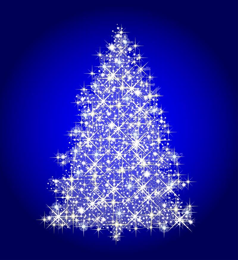 arbre de Noël sur le bleu illustration stock