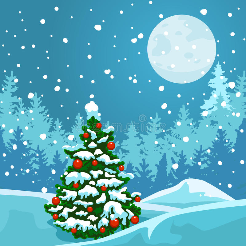 Arbre de Noël sur le fond d'un paysage d'hiver illustration stock