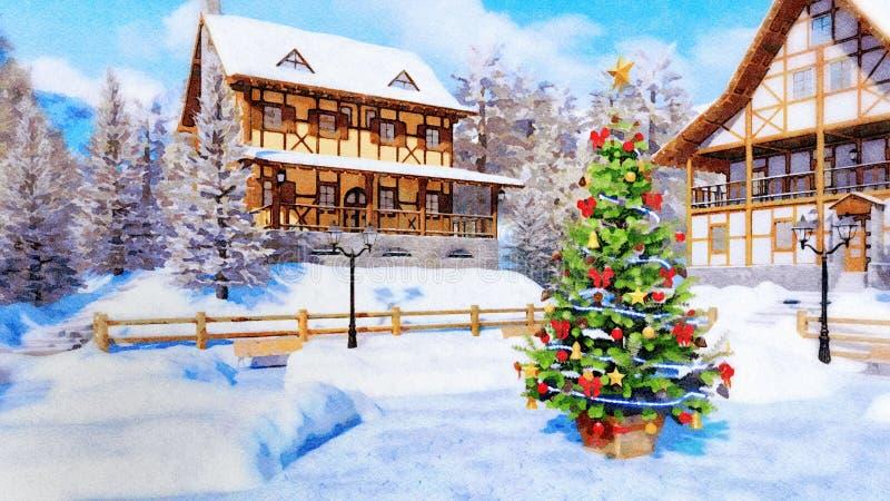 Arbre de Noël sur le style carré d'aquarelle de banlieue noire illustration de vecteur