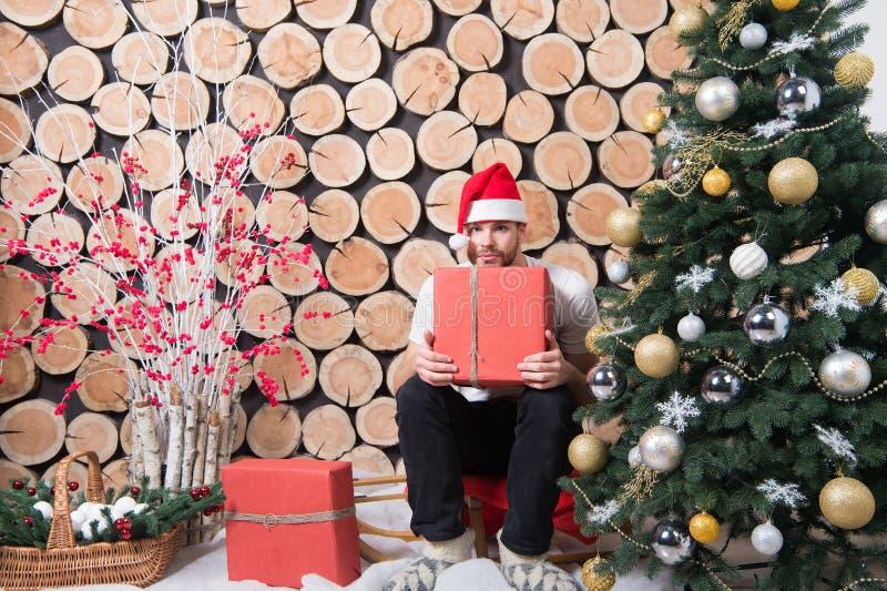 Arbre de Noël, traîneau, panier, neige, buisson rouge de baie, décorations photo stock