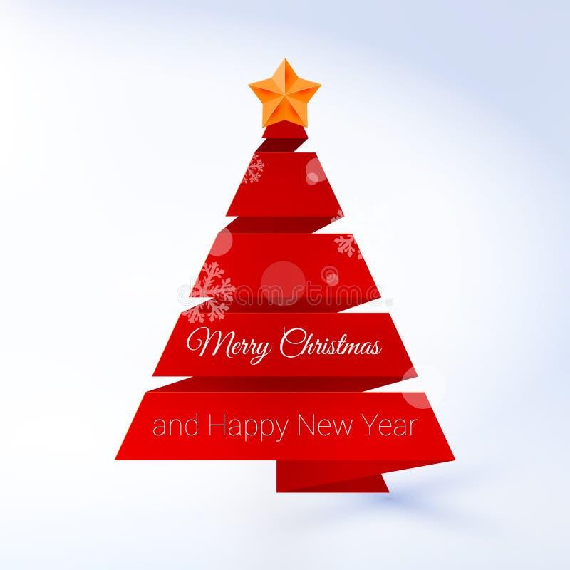 Arbre de Noël de vecteur fait en ruban rouge sur un Lite illustration stock