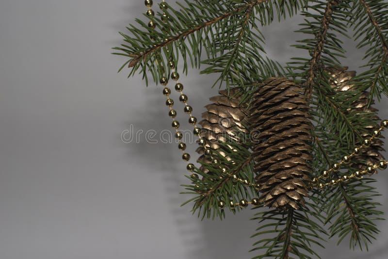 Arbre de Noël vert avec des perles d'or et des cônes de pin d'or sur photo libre de droits