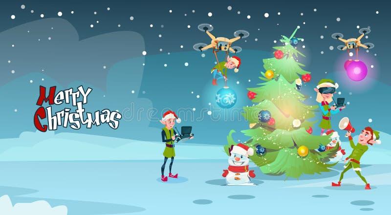 Arbre de Noël vert de décoration de groupe d'Elf avec la carte de voeux de nouvelle année en verre de réalité virtuelle d'usage d illustration libre de droits