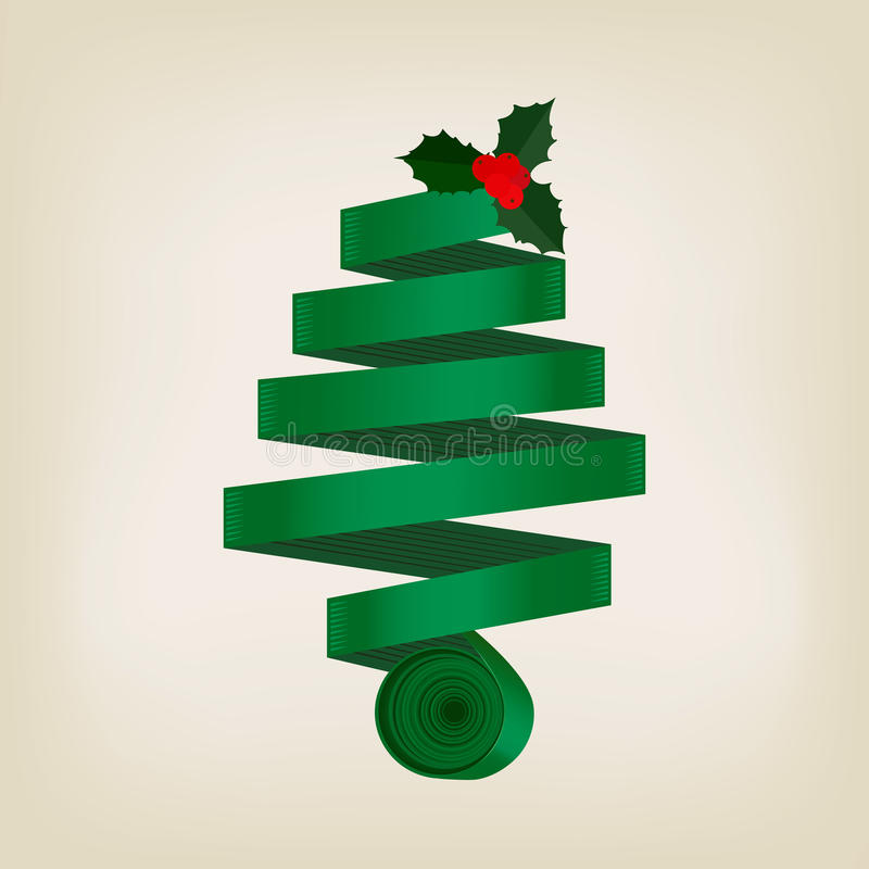 Arbre de Noël vert de fête de ruban enroulé illustration stock