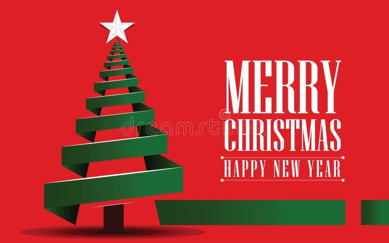 Arbre de Noël vert fait à partir de l'image de vecteur de ruban sur le fond rouge illustration libre de droits