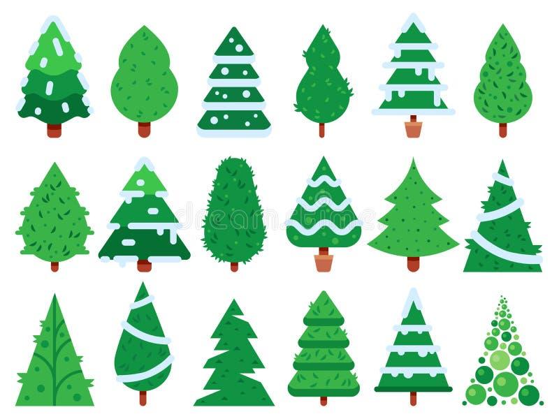 Arbre de Noël vert Les arbres simples de Noël forment, ensemble d'icône de vecteur d'isolement par sapin de nature illustration stock