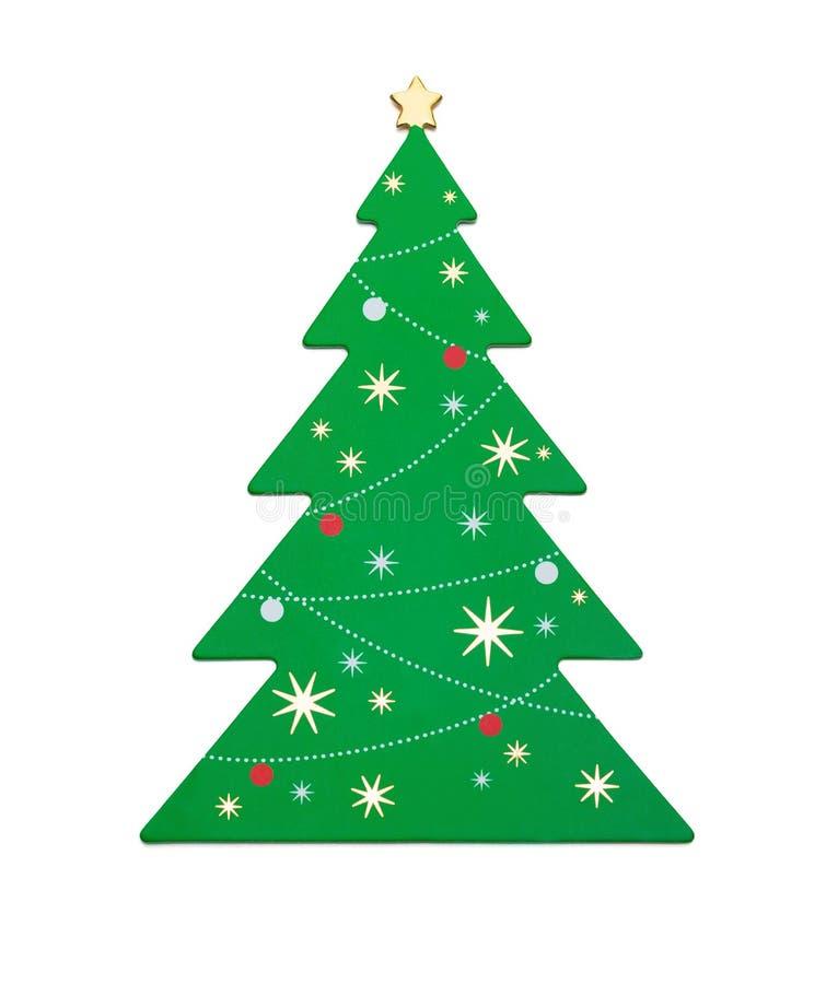 Arbre de Noël vert plat sur le fond blanc avec le chemin de coupure image stock