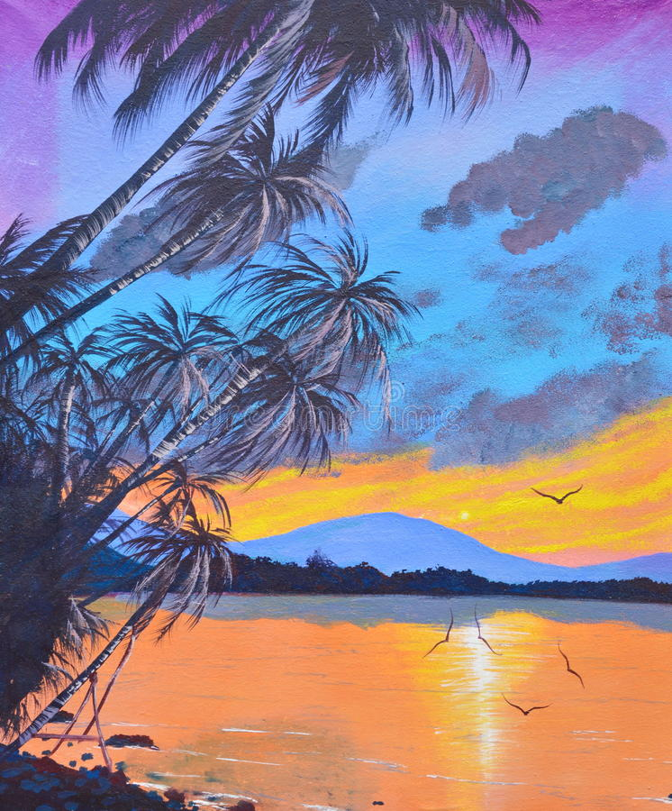 Arbre de noix de coco sur la peinture à l'huile de plage sur la toile photo libre de droits