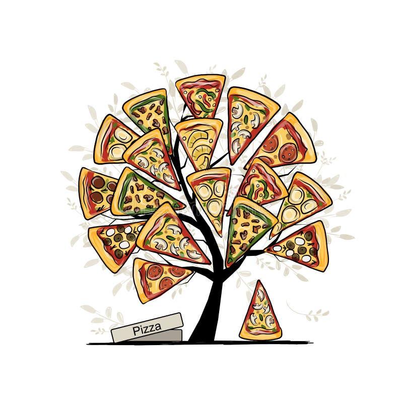 Arbre de pizza, croquis pour votre conception illustration stock