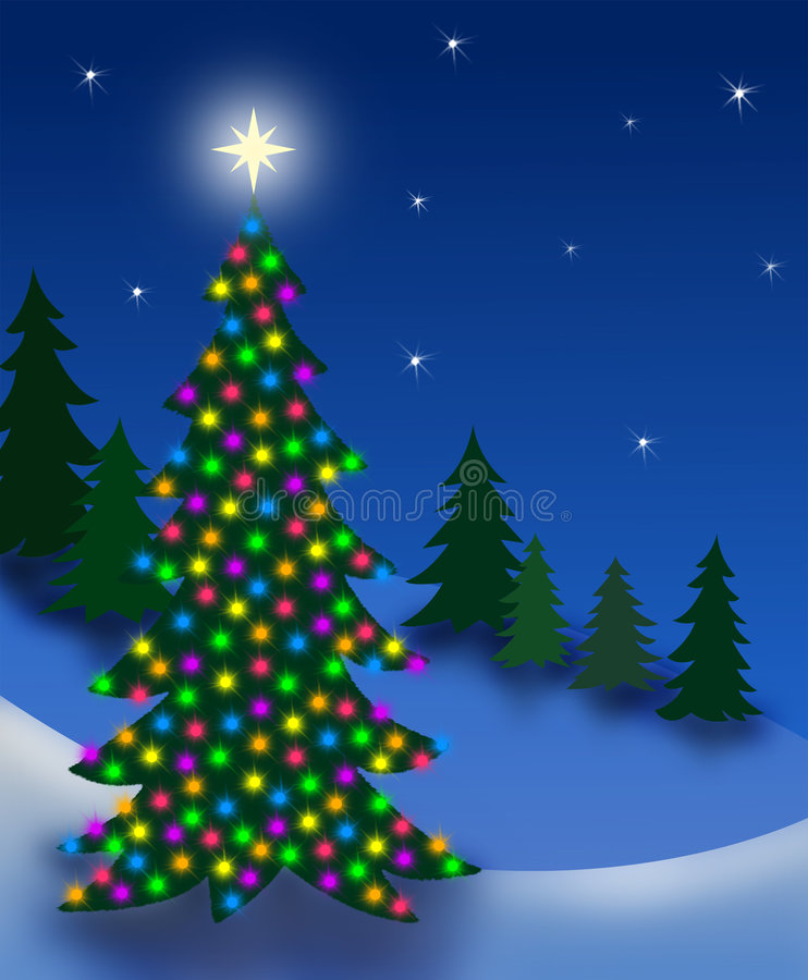 Arbre de réveillon de Noël illustration de vecteur