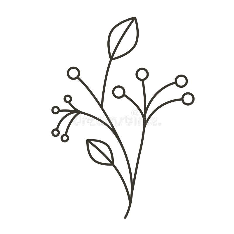 Arbre de ramifications de silhouette de tige et de branches illustration libre de droits