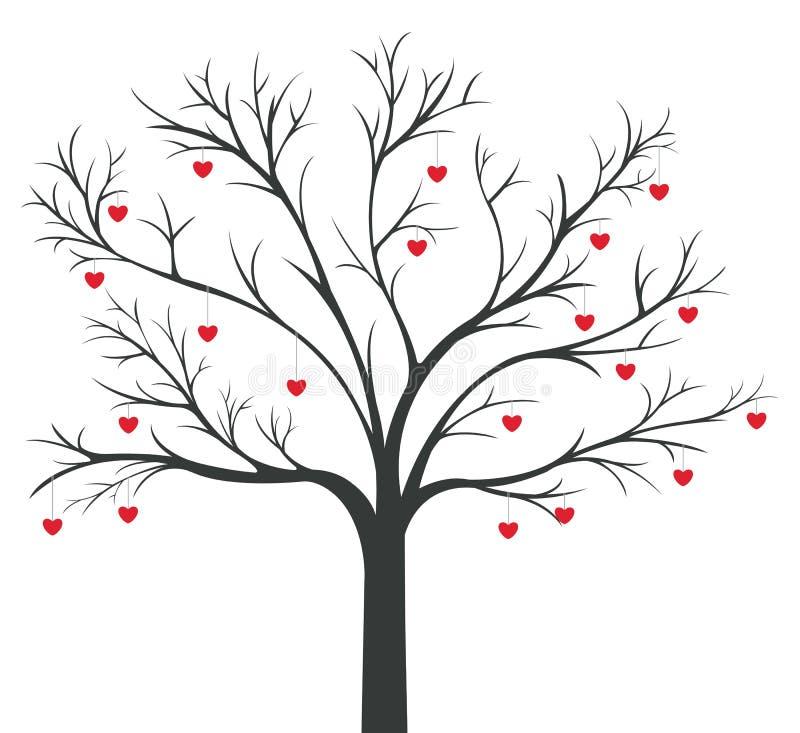 Arbre de s'arrêter rouge de coeurs illustration stock